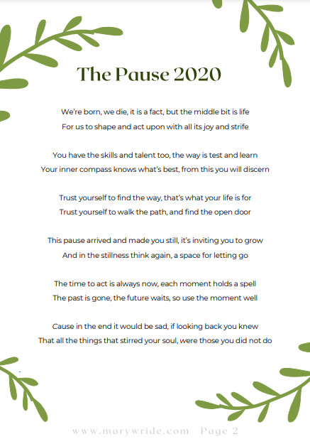 The Pause 2020 Mary Wride